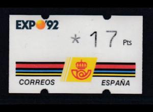 Spanien Klüssendorf-ATM EXPO'92 Sevilla, Wert 3-stellig Mi.-Nr. 2.1 **
