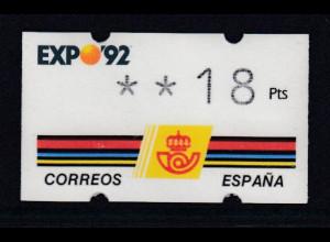 Spanien Klüssendorf-ATM EXPO'92 Sevilla, Wert 4-stellig Mi.-Nr. 2.2 **