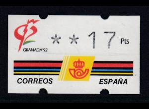Spanien Klüssendorf-ATM GRANADA'92, Wert 4-stellig Mi.-Nr. 3.2 **