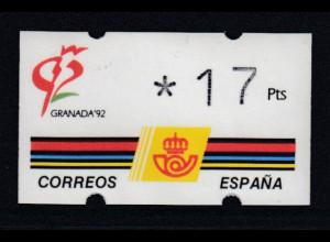 Spanien Klüssendorf-ATM GRANADA'92, Wert 3-stellig Mi.-Nr. 3.1 **