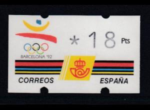 Spanien Klüssendorf-ATM Olympiade BARCELONA'92, Wert 3-stellig Mi.-Nr. 5.1 **