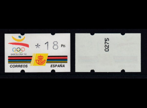 Spanien Klüssendorf-ATM Olympiade BARCELONA'92, Wert 3-stellig Nr Mi.-Nr. 5.1 **