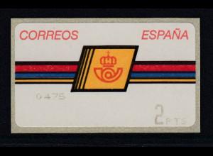 Spanien ATM Postemblem Typ II, Druck Epelsa 4-stellig ohne Sterne Mi.-Nr. 4.2.1