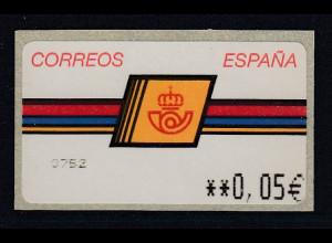 Spanien ATM Postemblem, Wert in € 5-stellig schmal Mi.-Nr. 4F 2.3
