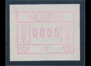 Norwegen Frama-ATM 1978, Gummidruck-ATM 0005 aus Automat 3 **
