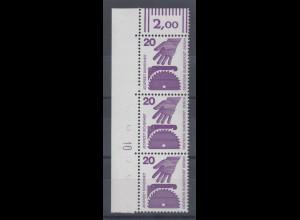 Berlin 1971 Unfallverhütung 20 Pfg Eckrand-Streifen mit Druckerzeichen 10 **