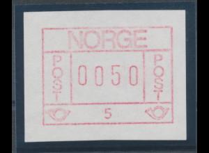 Norwegen Frama-ATM 1978, bessere Farbe braunrot, ATM 0050 aus Automat 5 **