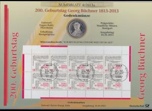 Bundesrepublik Numisblatt 4/2013 Georg Büchner mit 10-Euro-Gedenkmünze