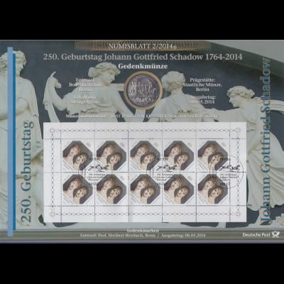 Bundesrepublik Numisblatt 2/2014 J. Gottfried Schadow mit 10-Euro-Gedenkmünze
