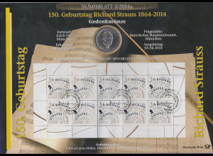 Bundesrepublik Numisblatt 3/2014 Richard Strauss mit 10-Euro-Gedenkmünze