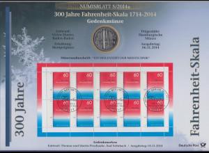 Bundesrepublik Numisblatt 5/2014 Fahrenheit-Skala mit 10-Euro-Gedenkmünze