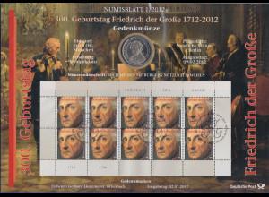 Bundesrepublik Numisblatt 1/2012 Friedrich der Große mit 10-Euro-Gedenkmünze