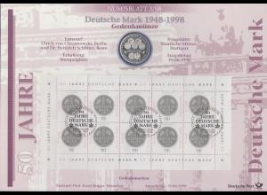 Bundesrepublik Numisblatt 3/1998 50 Jahre Deutsche Mark mit 10-DM-Silbermünze