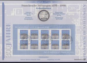 Bundesrepublik Numisblatt 4/1998 Francksche Stiftungen mit 10-DM-Silbermünze