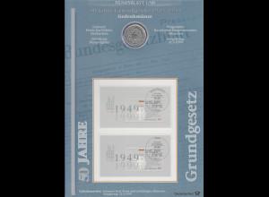 Bundesrepublik Numisblatt 1/1999 50 Jahre Grundgesetz mit 10-DM-Silbermünze