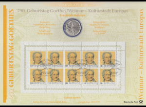 Bundesrepublik Numisblatt 3/1999 Johann Wolfgang v. Goethe mit 10-DM-Silbermünze