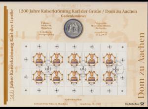 Bundesrepublik Numisblatt 1/2000 Karl der Große Dom Aachen mit 10-DM-Silbermünze