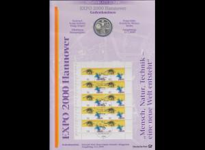 Bundesrepublik Numisblatt 2/2000 EXPO 2000 Hannover mit 10-DM-Silbermünze