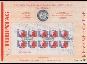 Bundesrepublik Numisblatt 3/2000 Johann Sebastian Bach mit 10-DM-Silbermünze