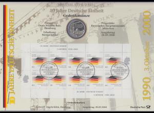 Bundesrepublik Numisblatt 4/2000 10 Jahre Deutsche Einheit mit 10-DM-Silbermünze