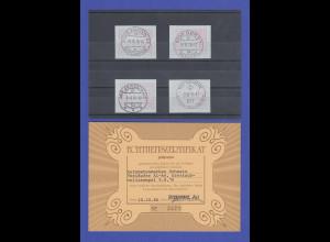 Schweiz 1976, 1. FRAMA-ATM Ausgabe A1-A4 mit Orts-Ersttags-Stempeln 9.8.76 !!