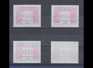 Schweiz 1976, 1. FRAMA-ATM Ausgabe A1-A4 **, Werte 0020-0010-0020-0010