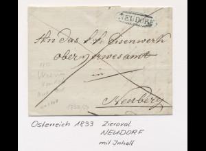 Österreich 1833, Vorphila-Brief mit Zieroval-Stempel NEUDORF