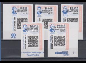 USA Internet-Frankaturmarken US-Presidenten (keine ATM), Lot 5 Stück