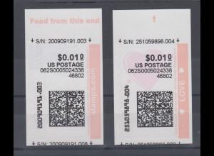 USA Internet-Frankaturmarken schwarzer Druck (keine ATM), Lot 2 Stück