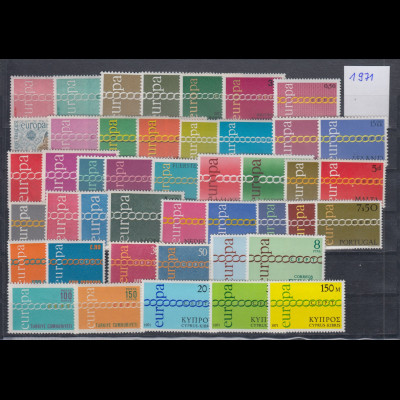 Europa-CEPT Jahrgang 1971 komplett postfrisch ** in einwandfreier Qualität