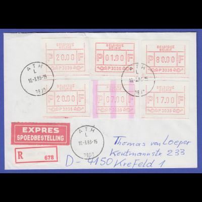 ATM Belgien ENDSTREIFEN-Rarität P3036 auf R-Express-Brief Ath 10.3.83 nach D