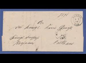 markenloser Brief mit Stempel Danzig 5.7.64 gelaufen nach Carthaus