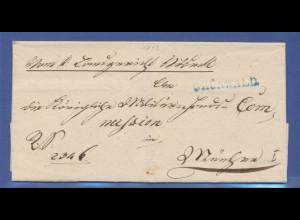 Vorphila-Brief mit Stempel GRÜNWALD in blau gelaufen nach München, 1843