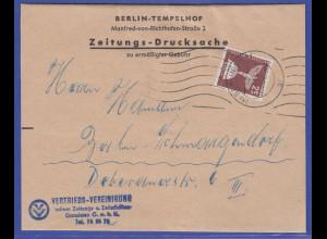 Berlin Mi.-Nr. 147 als portogerechte EF auf Zeitungsdrucksache SELTEN !