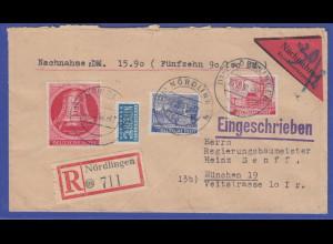 R-Nachnahme Brief von Nördlingen nach München mit Berlin Nr. 77, 51 und 52