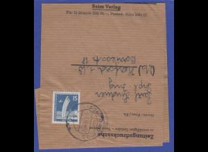 Berlin 15 Pfg Luftbrückendenkmal als EF auf Zeitungsdrucksache, Mi.-Nr. 145 EF
