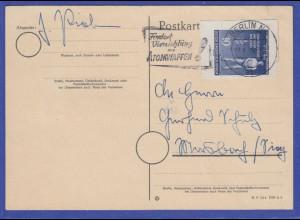 DDR 1955 Blockmarke Mi.-Nr. 459B als EF auf Postkarte aus Berlin