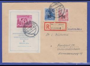 DDR 1954 Block 10 in MIF auf R-Brief gel. von Berlin-Pankow nach Frankfurt / M.