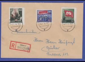 DDR 1954 Karl Marx Blockmarken Mi.-Nr. 387B und 391B auf R-Brief aus Güstrow