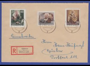 DDR 1954 Karl Marx Blockmarken Mi.-Nr. 388B und 391B auf R-Brief aus Güstrow