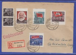 DDR 1954 4 geschnittene Karl Marx Blockmarken in MIF auf R-Brief aus Ebersbach