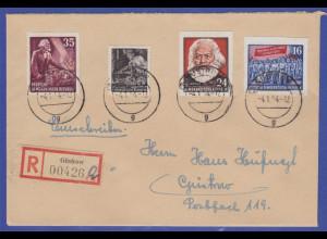 DDR 1954 Karl Marx Blockmarken Mi.-Nr. 389B und 393B auf R-Brief aus Güstrow