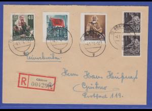 DDR 1953 Mi.-Nr. 386B und 388B aus Karl Marx Block in MIF a. R-Brief aus Güstrow
