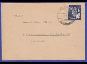 DDR 1950 Mi.-Nr. 276 als EF auf Brief gel. von Meerane nach Neugersdorf