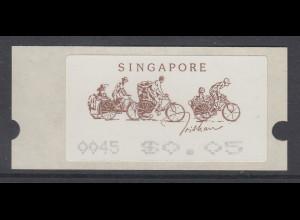 Singapur Almex-ATM 5. Ausgabe Trishaw (Rikscha), Mi.-Nr. 5 **