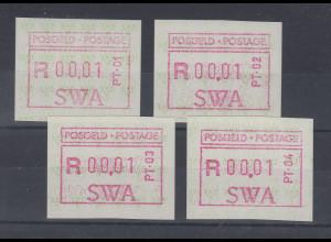 Südwestafrika FRAMA-ATM 4 Aut.-Nr. PT-01 bis PT-04 kpl. Mi.-Nr. 1.1 - 1.4 **