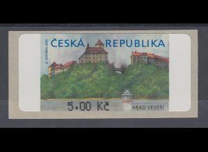 Tscheschische Republik ATM 1.Ausgabe Hrad Veveri ohne Stern vor Wertangabe