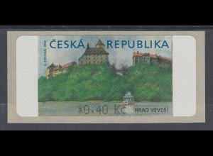 Tschechische Republik ATM 1.Ausgabe Hrad Veveri mit Stern vor Wertangabe