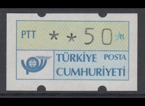 Türkei Klüssendorf ATM 1. Ausgabe, normal geschnitten, Mi.-Nr. 1.1 **
