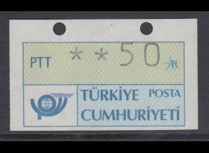 Türkei Klüssendorf ATM 1. Ausgabe versetzt geschnitten aus OA, Mi.-Nr. 1.2 **